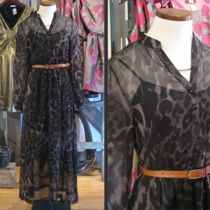 Kenzie L/S Cheetah Maxi Dress